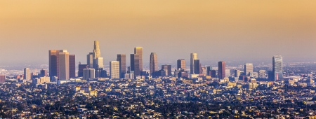 aerial of Los Angeles in sunset photo