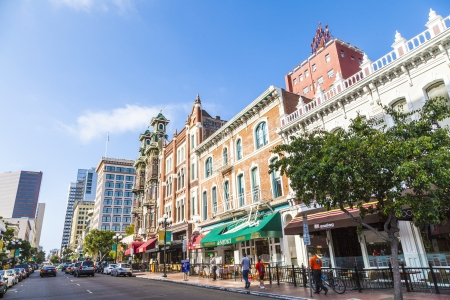 historic district: SAN DIEGO, USA - JUNE 11: facade of historic houses in the gaslamp quarter on June 11, 2012 in San Diego, USA. The area is a historic district on the National Register of Historic Places and dates back to 1867.