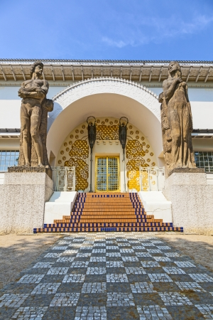 applied: DARMSTADT, GERMANY - APR 24: entrance to the Ernst-Ludwig House at the mathildenhoehe on April 25, 2011 in Darmstadt. Architect Joseph Maria Olbricht built the art nouveau house in 1900. Editorial
