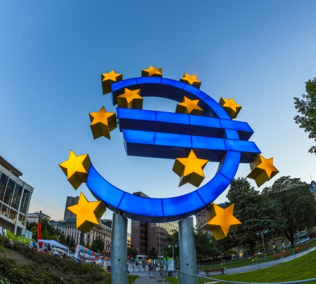 Euro Symbol in Frankfurt by night photo