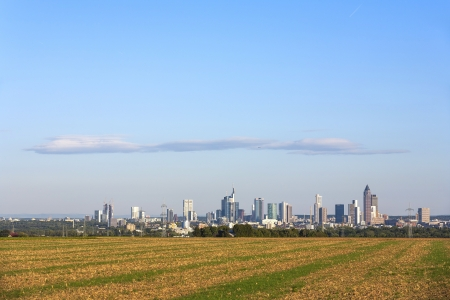 skyline of Frankfurt with fields in foreground Stock Photo - 15118788
