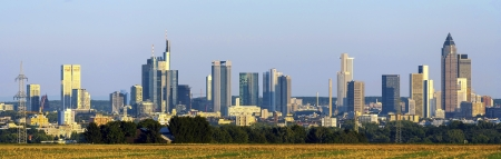 skyline of Frankfurt with fields in foreground photo