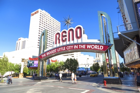 RENO - JUNE 17: The Reno Arch on June 17,2012 in Reno, Nevada. The original arch was built in 1926 to commemorate the completion of the Lincoln and Victory Highways. Stock Photo - 15103755