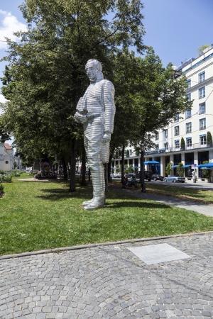graf: MUNICH, GERMANY - JULY 09 : statue of Graf Maximilian Joseph von Montegelas, a reformer of bavarian state at July 09, 2011 in Munich, Germany. The sculpture from Karin Sander was inaugurated in 2005.