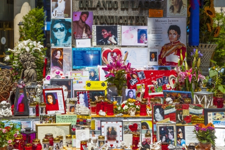 MUNICH, GERMANY - JULY 09 : people remember Michael Jackson with post cards and personal letters at the statue of Orlando di Lasso on July 09,2011 in Munich, Germany. Jackson died on June 25,2009 in Los Angeles.