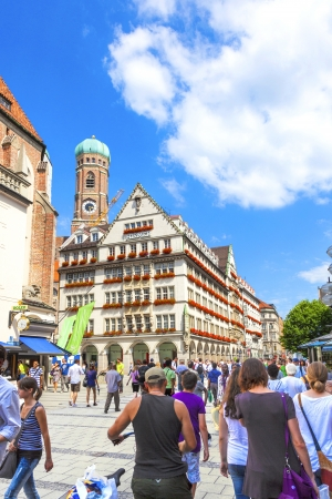 MUNICH, GERMANY - JULY 9: Exterior view of Hirmer, the largest men's fashion house in the world, with decoration on July 9,2011 in Munich, Germany Stock Photo - 15438415