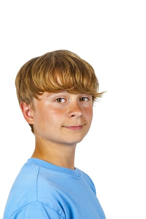 portrait of happy smiling boy with blue shirt photo