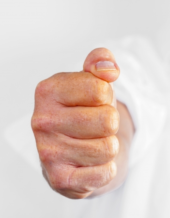 detail of male fist in white business shirt Stock Photo - 15668355