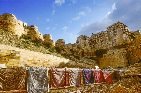 Beautiful panorama of the Golden Fort of Jaisalmer, India on August 1994