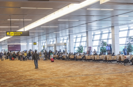 New Delhi - October 27: Airport hall at Indira Gandhi airport on  October 27,2012 in New Delhi, India. with more than 28 Millionen passenger it is the biggest airport in India.