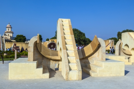 maharaja: JAIPUR, INDIA - OCTOBER 18: People visit the Observatory  Jantar Mantar on October 18, 2012 in Jaipur, India. It was built by T by Maharaja Jai Singh between 1727 and 1734. Editorial