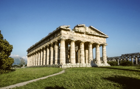 Ancient Temple of Hera built by Greek colonists, in Paestum, Italy