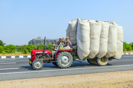 RAJASTHAN, INDIA - FEB. 24: timber transport with tractor on country road on Feb. 24, 2010 in Rajasthan, India. Editorial
