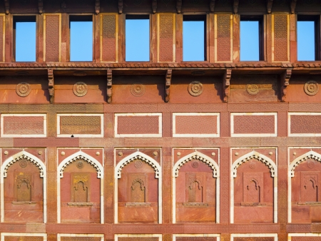 India: facade of Jahangiri Mahal in Agra Red Fort, a Unesco World Heritage site, and one of the biggest tourist highlights, just 2 km of Taj Mahal