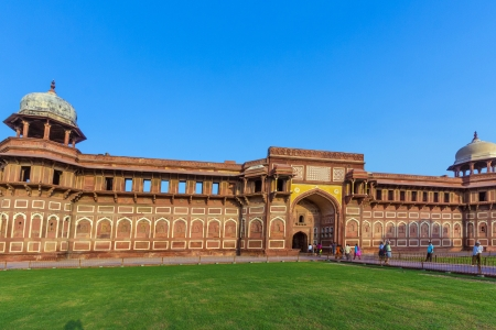 India: Agra Red Fort, a Unesco World Heritage site, and one of the biggest tourist highlights, just 2 km of Taj Mahal. Built by several Mughal emperors from XV to XVI centuries. Uttar Pradesh, India.