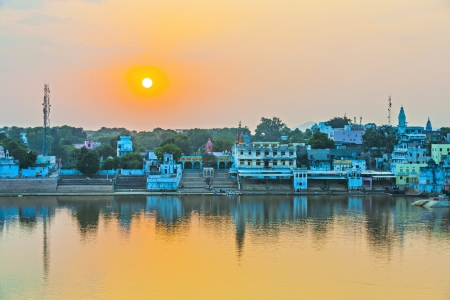 ghat: lake view to the ghats of Pushkar