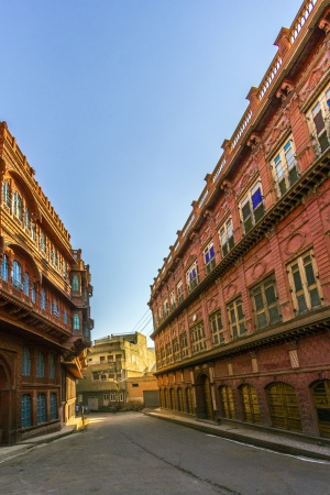 frescoed: beautiful old haveli in Bikaner, Rajasthan, India