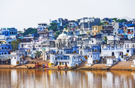 View of the City of Pushkar with famous Ghats on October 20,2012 in Pushkar,Rajasthan, India. Stock Photo - 16743224