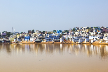 View of the City of Pushkar with famous Ghats on October 20,2012 in Pushkar,Rajasthan, India. Stock Photo - 16743228