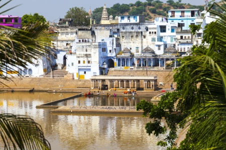 View of the City of Pushkar with famous Ghats on October 20,2012 in Pushkar,Rajasthan, India. Stock Photo - 16743237