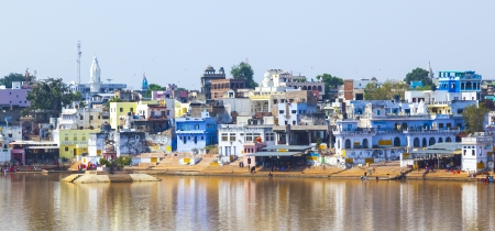 View of the City of Pushkar with famous Ghats on October 20,2012 in Pushkar,Rajasthan, India. Stock Photo - 16743222