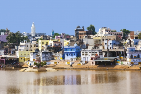 View of the City of Pushkar with famous Ghats on October 20,2012 in Pushkar,Rajasthan, India. Stock Photo - 16743230