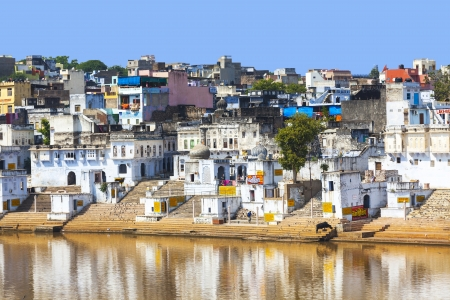 View of the City of Pushkar with famous Ghats on October 20,2012 in Pushkar,Rajasthan, India. Stock Photo - 16743246