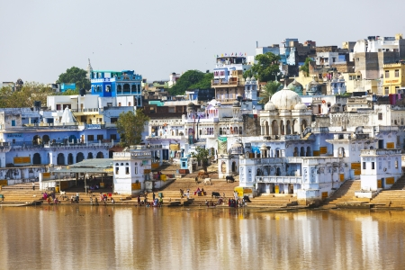 View of the City of Pushkar with famous Ghats on October 20,2012 in Pushkar,Rajasthan, India. Stock Photo - 16743248