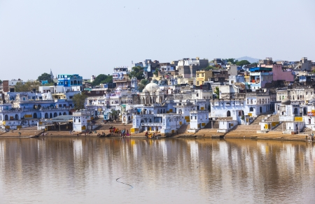 View of the City of Pushkar with famous Ghats on October 20,2012 in Pushkar,Rajasthan, India. Stock Photo - 16743236