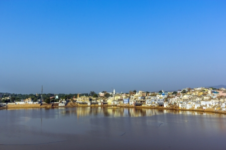 View of the City of Pushkar with famous Ghats on October 20,2012 in Pushkar,Rajasthan, India.