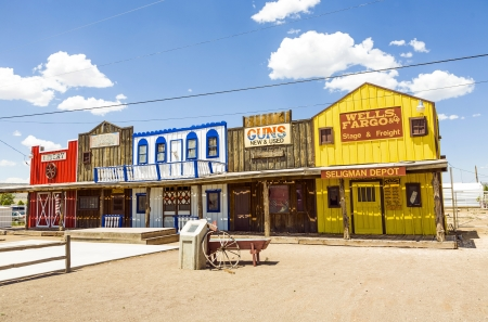 SELIGMAN, USA - JUL 8: The Historic Seligman depot on July  8, 2008 in Seligman, AZ, USA on Historic Route 66. Built in 1904, today, Seligmans depot is the best original western facade all over Route 66. Stock Photo - 16743256