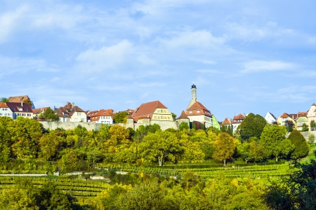 Rothenburg ob der Tauber, old famous city from medieval times seen from the romantic valley of the river Tauber photo