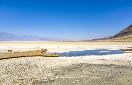 Badwater, deepest point in the USA, Saltsee mixed with minerals in the Desert Valley, deeper than sea level photo