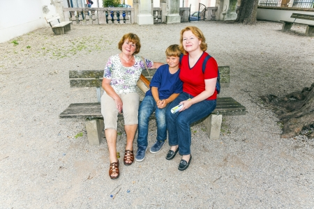 freising: three generations of an attractive family Stock Photo