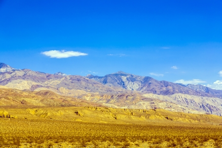goldrush: mountains of Panamint Valley desert with blue sky Stock Photo