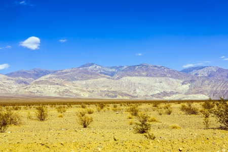 vastness: mountains of Panamint Valley desert with blue sky Stock Photo