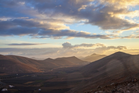 sunrise in picturesque village of Femes in Lanzarote