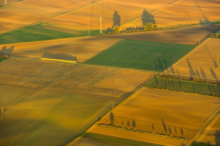 rural landscape with acre from hot air balloon in Frankfurt photo