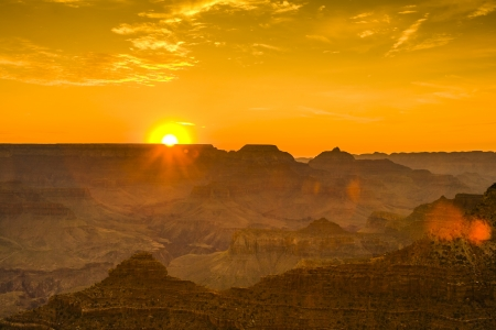 south rim: Sunset at the Grand Canyon seen from Desert View Point, South Rim Stock Photo