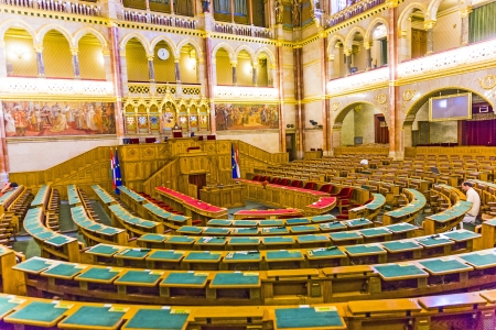 ungarn: BUDAPEST, HUNGARY AUGUST 8: inside famous hungarian parliament in gothic revival style on August 8,2008 in Budapest, Hungary. It was inaugurated on the 1000th anniversary of the country in 1896.