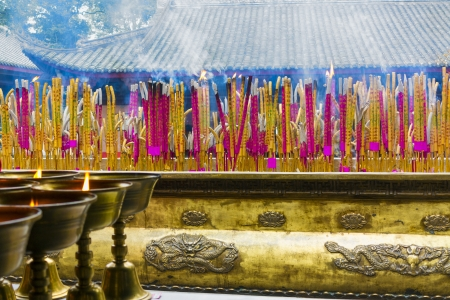 Joss sticks in a temple near the Giant Buddha in Leshan, Sichuan Province, China