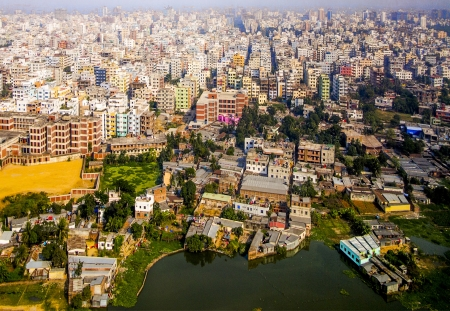 slum: Aerial of Dhaka, the Capital of Bangladesh