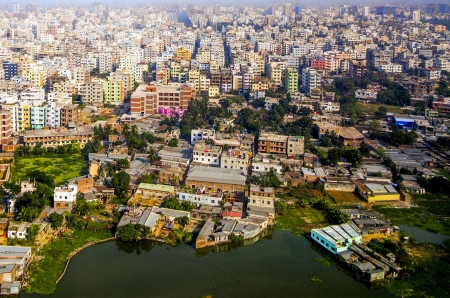 Aerial of Dhaka, the Capital of Bangladesh