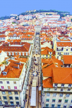 Portugal. Panorama of Lisbon from a viewing point of Santa Justa