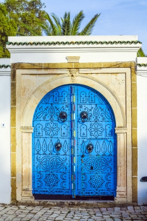 beautiful traditional doors with old decoration and blue color Stock Photo - 16961403