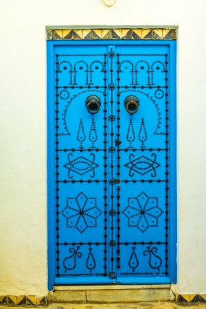 beautiful traditional doors with old decoration and blue color Stock Photo - 16959730