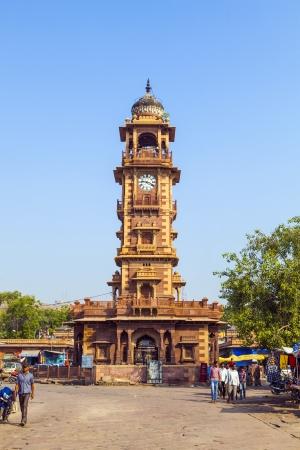 maharaja: JODHPUR, INDIA - OCTOBER 23: people hurry at the Sadar market at the clocktower on October 23,2012 in Jodhpur, India. The imposing Clock Tower was built by Maharaja Sardar Singh (1880-1911).