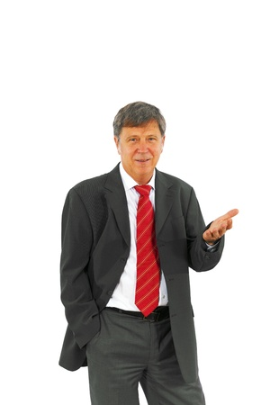 businessman standing: smart succesful business man with red tie Stock Photo