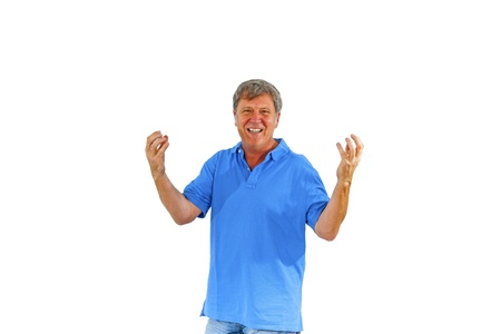 leisure friendly man greets with his hands and has fun Stock Photo - 16972500