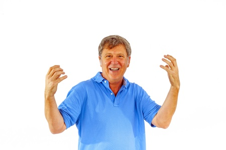 leisure friendly man greets with his hands and has fun Stock Photo - 16972458